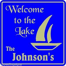 Personalized Welcome To Lake Home Nautical Marine Gift Sign #4 Custom Usa Made