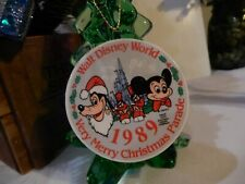 "WALT DISNEY WORLD ""Very Merry Christmas Parade"" Porcelain Holiday Ornament ~1989"