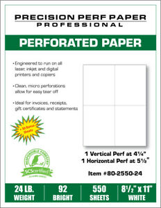Perforated Paper - 8.5 x 11 - 4 Up Style - 550 Sheets - 24 lb