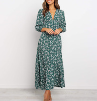 Women's Retro Floral Maxi Dress Flutter Sleeve Bohemian Evening Party Long Dress