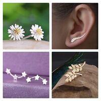CRYSTAL RHINESTONE FLOWER LEAF STAR EAR CLIP CUFF STUD EARRINGS GOLD SILVER UK