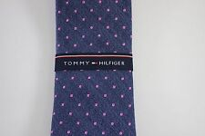 NWT TOMMY HILFIGER Men's Navy Pink Polka Dot Silk Blend CLASSIC Neck Tie OS