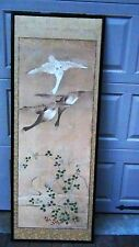 ANTIQUE 19c CHINESE WATERCOLOR 3  DUCKS AND FLOWERS FRAMED SCROLL PAINTING # 2