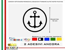 ADESIVO PRESPAZIATO ANCORA CERCHIO D.10 SIMBOLO MARE LUPO MASSONERIA VINILE 2 PZ
