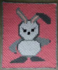 STROLLER BUNNY BABY PIXELL CROCHET C2C BLANKET 78cmx92cm
