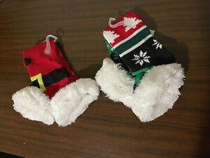 Lot of 2 Holiday Socks Knee High Santa & Snowflakes Faux Fur Trim Women's New