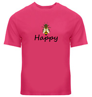 Bee Happy Unisex Tee T-Shirt Mens Women Gift Print Shirts Be Happy