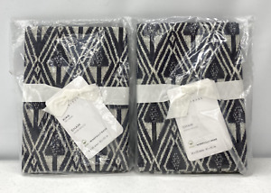 NEW Pottery Barn Mitzi Print Organic KING Shams~SET OF 2~Charcoal Gray Multi