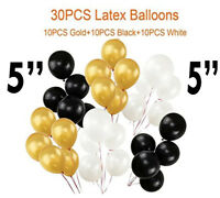 "30 PK Mini 5"" INCH Latex Balloons - Black, White & Gold - Birthday/Wedding Decor"