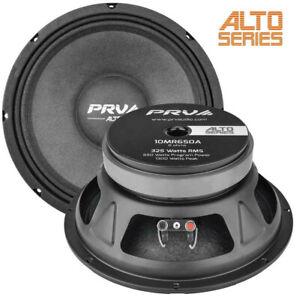 "2x PRV 10MR650A 10"" Mid Range Car Audio Speaker 650W, 8-Ohm, 97.5 dB, 80–6,500Hz"