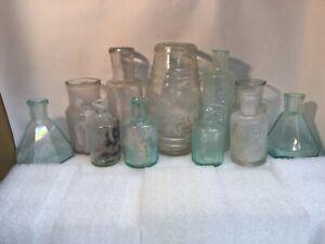 Antique Vintage Lot of 11 Medicine, ink, mustard, hair bottles all with damage