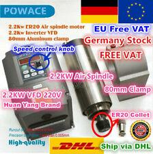 【DE】2.2KW ER20 Air Cooled 220V Spindle Motor+VFD Inverter Driver+80mm Clamp CNC