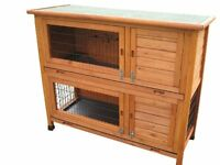 RABBIT HUTCHES HUTCH DELUXE DOUBLE DECKER RABBIT / GUINEA HUTCH RUN RUNS GUINEA
