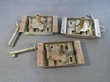 Lot de 3 anciennes serrure de tiroir pour meuble ancien bureau commode