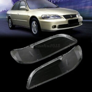 1 Pair Headlight Clear Lens Lampshade Replacement For Honda Accord 1998-2002
