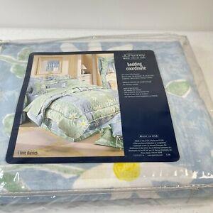 JCPenney full bedskirt I love daisies light blue jade floral cotton blend