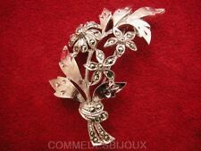 "Broche ""Fleurs"" Marcassite N° 1 Bouquet Présent Gerbe - Bijoux Vintage Sphinx"