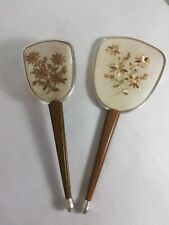 Vintage 2 Piece Mirror Hair Brush Floral Vanity Dressing Table wood embroidery