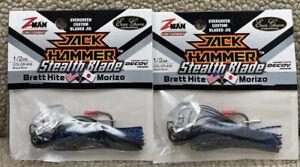 (2) Z-Man 1/2oz Jack Hammer Stealth Blade Chatterbaits Black/Blue 13