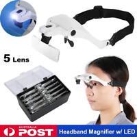 2 LED Lamp Headset Headband Magnifying Glass Head Light Jeweler Magnifier Loupe