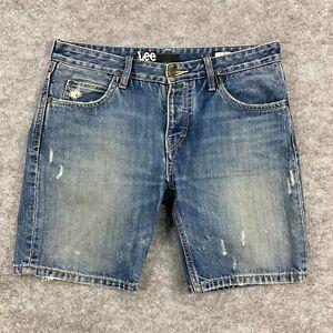 Lee Mens Shorts Size 31 Blue Denim Distressed Button Pockets Slim Fit 142.03