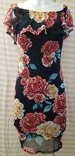 Privacy Please Off Shoulder Ruffled Bodycon Floral Print Dress S Small Lined