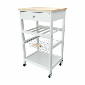Kitchen Bench Prep Trolley Wine Rack Utility Cart Rubberwood Worktop Wheels JK