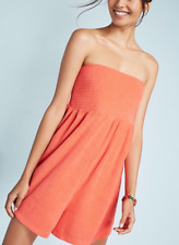 ANTHROPOLOGIE SATURDAY/SUNDAY CORAL STRAPLESS SMOCKED TERRY ROMPER Sz XS
