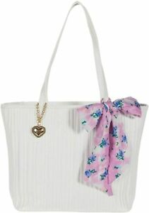 Betsey Johnson Tote Bag XOMYA White Faux Leather w/Floral Scarf & Heart Charm