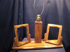 "Mid Century Desk / Boudoir / Table Lamp w/ Two Wooden 5"" x 7"" Picture Frames"