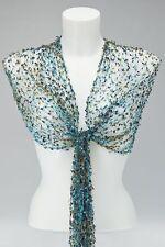Blue gold net écharpe / châle / écharpe cobweb maille viscose commerce équitable de mariage nouveau!