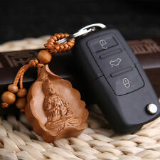 Kwan Guan Yin Leaf Wood Carved Sculpture Chinese Pendant Key Chain Keyring