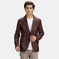 Pure sheepSkin men's quilted blazer new fashion warm leather coat men's jacket