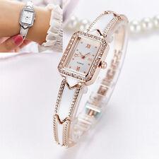 Damen Armbanduhr Quarz Analog Edelstahl rotgold Damenuhr eckig Strass 18 cm Neu