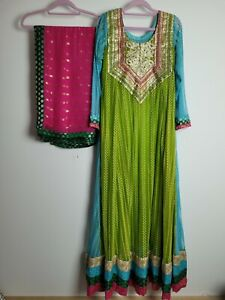 Beautiful Maxi Anarkali Indian Dress For Wedding Mendhi Guest Size 12 Medium