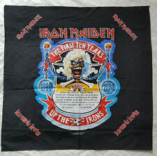 Vintage 1990  IRON MAIDEN fabric poster, Bandana, THE FIRST TEN YEARS, New.