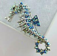 Seahorse brooch blue crystal elegant vintage style sea animal diamante pin