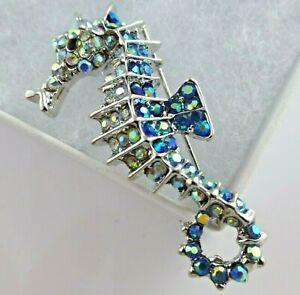Seahorse brooch blue crystal vintage style sea animal diamante pin new gift box
