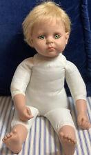 """Seymour Mann Hug 'N Hold Vinyl Cloth 16"""" Doll KRV-042 Blonde Hair Green Eyes"""