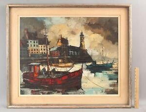 Mid-Century BORIS CENIC French Expressionist Fishing Boat Harbor Oil Painting