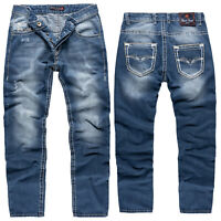 Rock Creek Herren Jeans Hose Comfort Fit Blau Dicke Nähte Straight Cut RC-2268