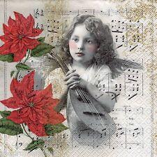 4 x Single PAPER NAPKINS Christmas Heavenly Music Angel DECOUPAGE CRAFTS