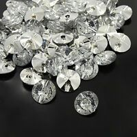Acrylic Rhinestone Buttons 2-Hole Faceted&Silver Plated Rivoli Back  Flat Round