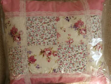 ###HANDCRAFTED  PATCHWORK AND LACE CUSHION 15 X 15 INCH