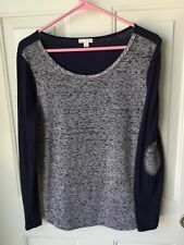 Womens GAP Textured Mix Elbow Patch Navy Blue Long Sleeve Shirt Size S Small