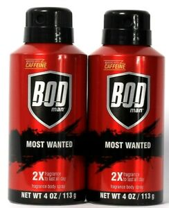 2 Cans Bod Man 4 Oz Most Wanted 2X Fragrance Boosted With Caffeine Body Spray