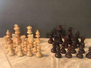 """Vtg French Lardy Wooden Boxwood Weighted Chess Pieces Felted Bottoms 3 1/4"""" King"""