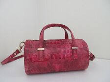 NWT AUTH BRAHMIN CLAIRE SMALL TOP ZIP EMBOSSED LEATHER BARREL BAG-$255-PETUNIA
