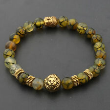 8MM Natural Lava Agate Gold Lion Buddha Head Men's Charm Beads Bracelets Jewelry