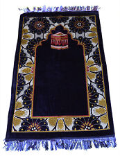 Prayer Rug Carpet Islamic Muslim Salah Meditation Mat Turkish Portable Blue